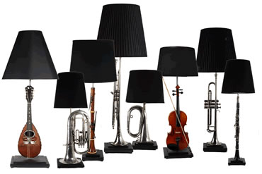 Table lamps made from a variety of reclaimed musical instruments.