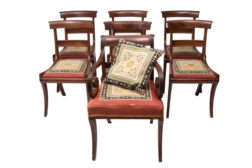 Picture of Set of 5 +1Carver +1 other Georgian dinning chairs