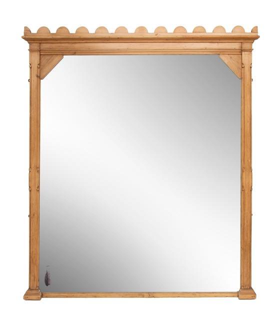 Large pine overmantel mirror