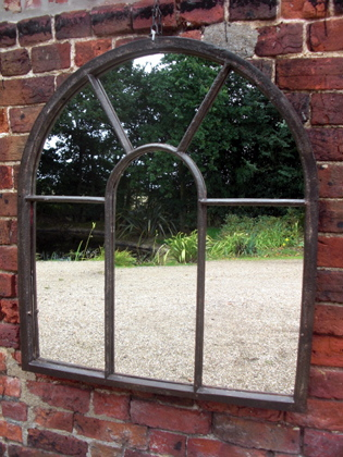 Arched top window mirror