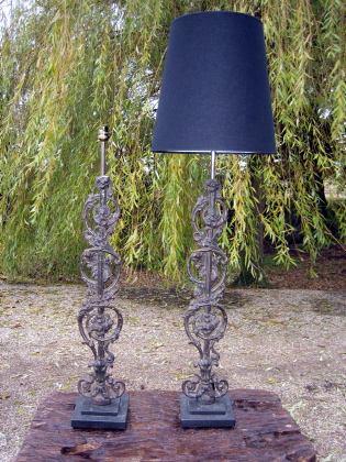 Beautiful curved reclaimed table lamps