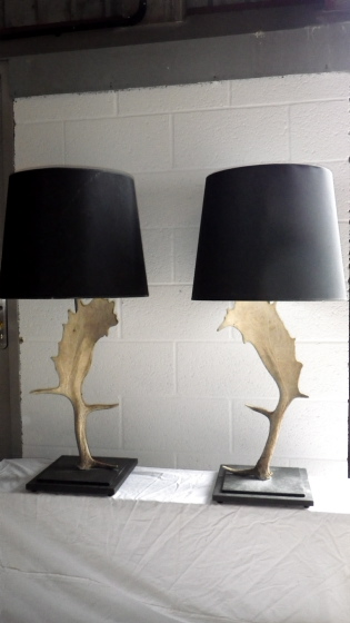 Picture of Pair of Fallow Deer Horn Table Lamps