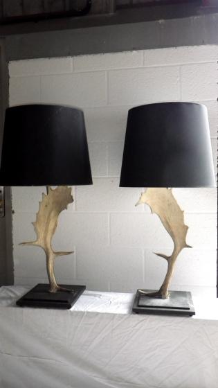 Pair of Fallow Deer Horn Table Lamps
