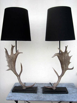 Pair of Elk horns table lamps