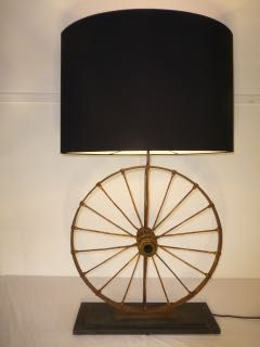 Pair of farm wheel table lamps