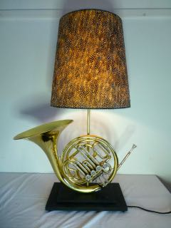 French horn table lamp