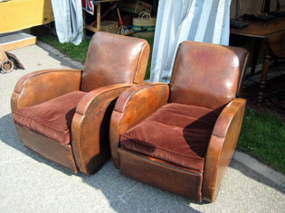 Picture of French Art Deco Leather Club Chairs
