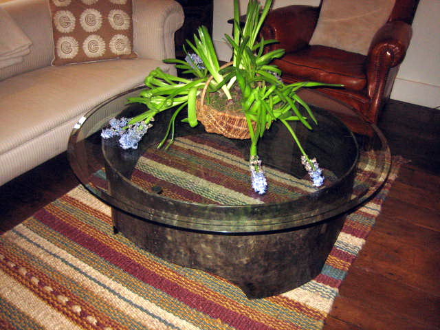 Picture of Galvanised Coffee Table with Glass Top