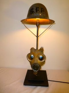 Picture of Canvas gas mask table lamp