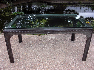 Picture of Glass Top Galvanised Water Tank Table