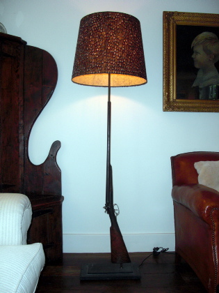 Shotgun and Pheasant Shade Lamp
