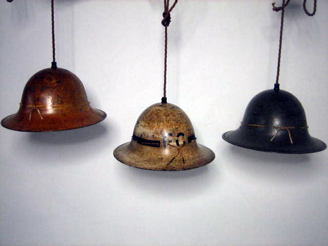 Picture of World War II Helmet Hanging Lights