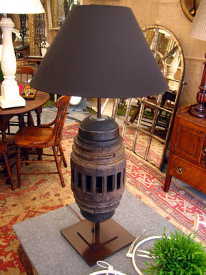 Picture of Elm wagon wheel hub lamp