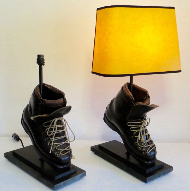 Picture of Leather old ski boots lamp