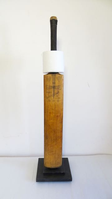 Cricket bat loo paper roll holder