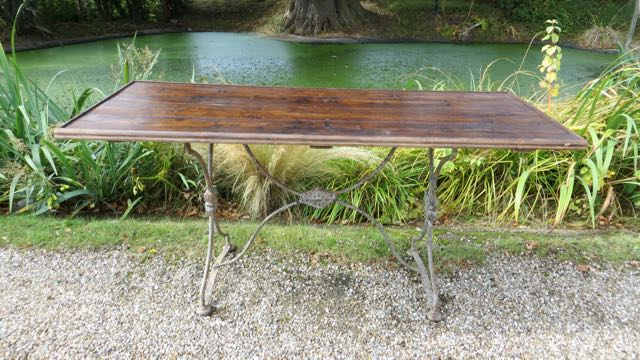 Picture of French metal and pine top table.