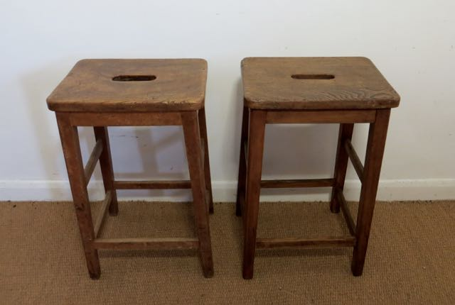 Picture of Pair of Laboratory elm stools