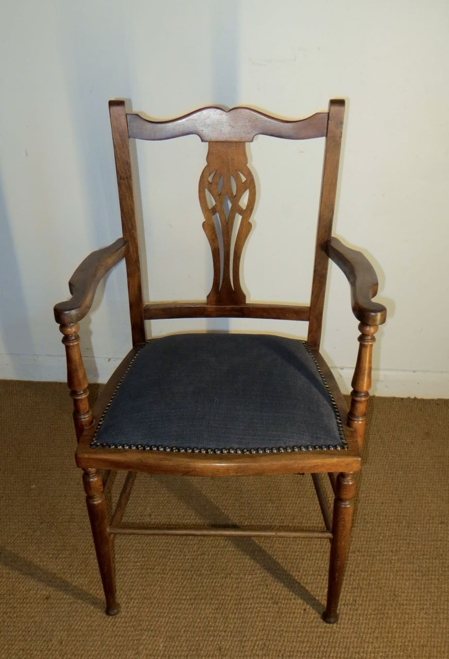 Picture of Edwardian beech carver chair