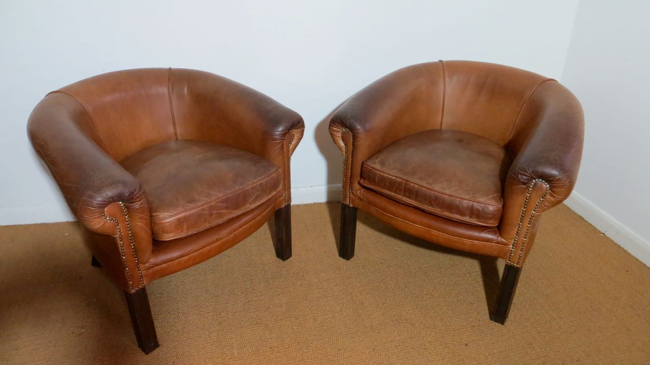 Pair of 60's leather club chairs