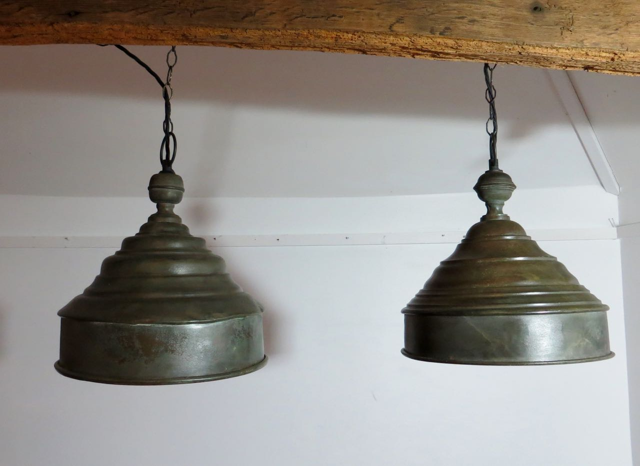 Pair of French food covers now pendants lights