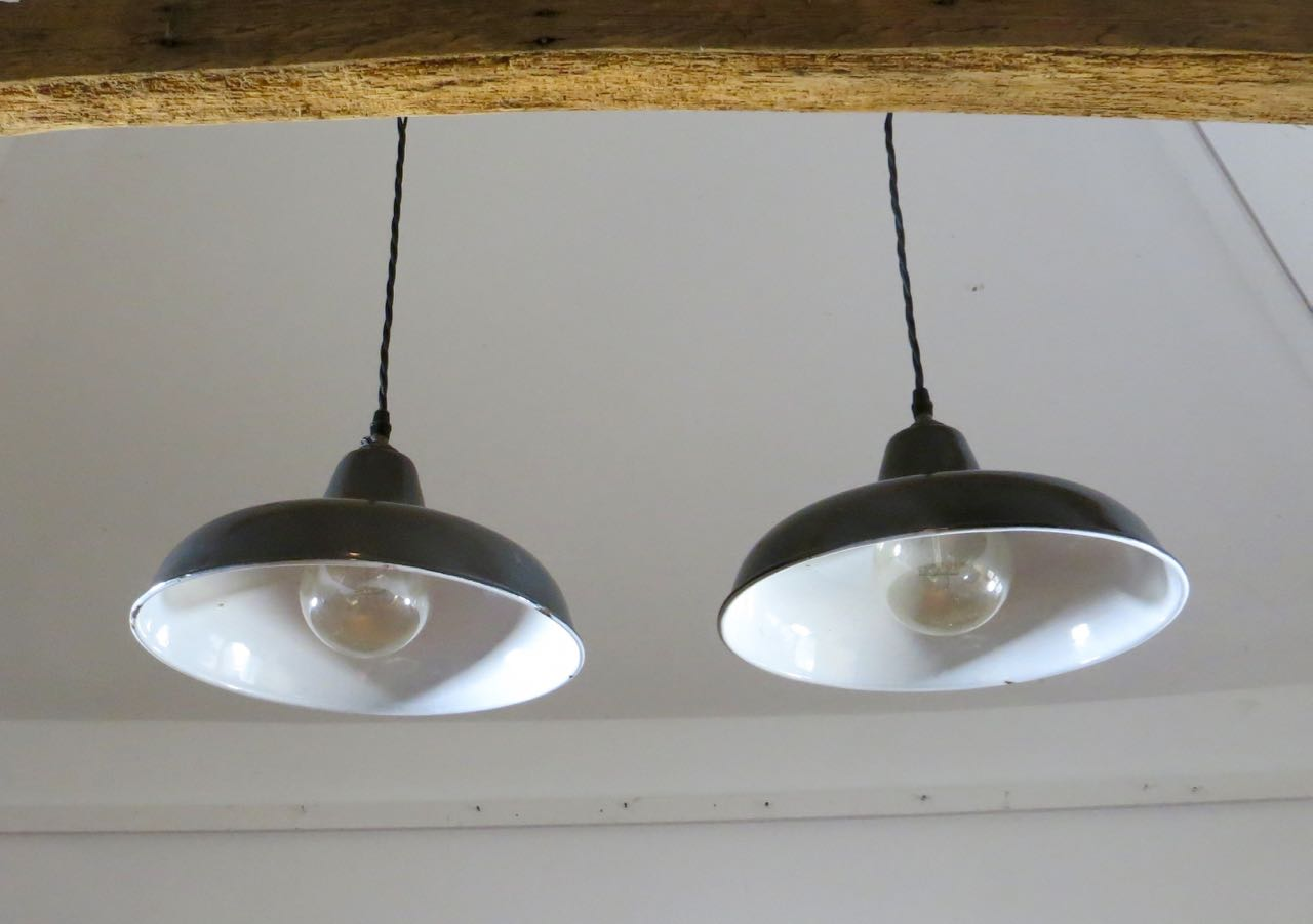 Grey French enamel pendant shade
