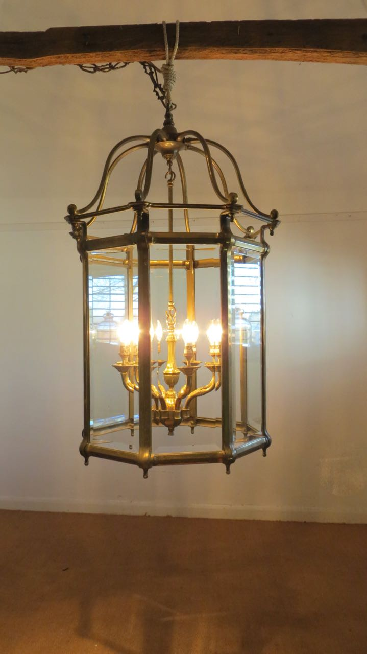 Picture of one of a pair of large English lanterns.
