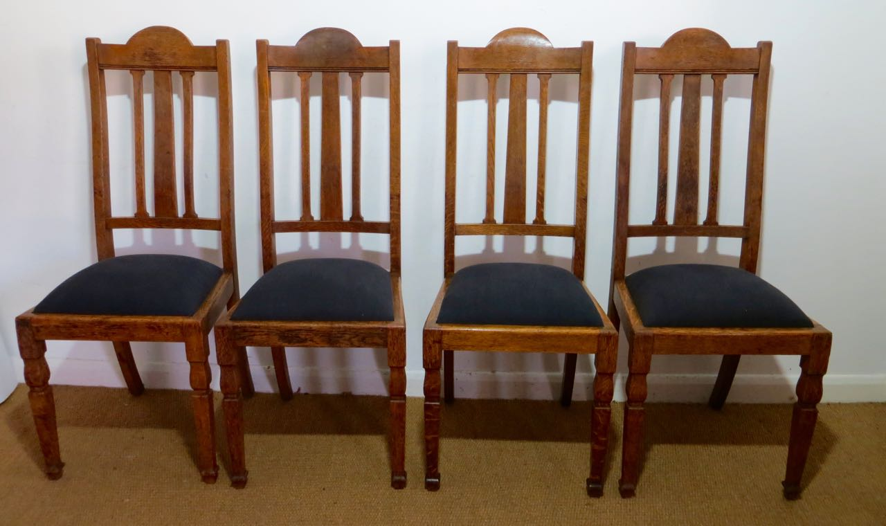 Picture of Set of 4 Edwardian oak dinning chairs.