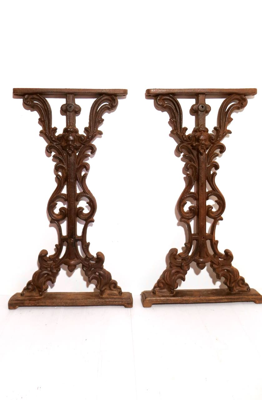 Pair of cast iron table bases