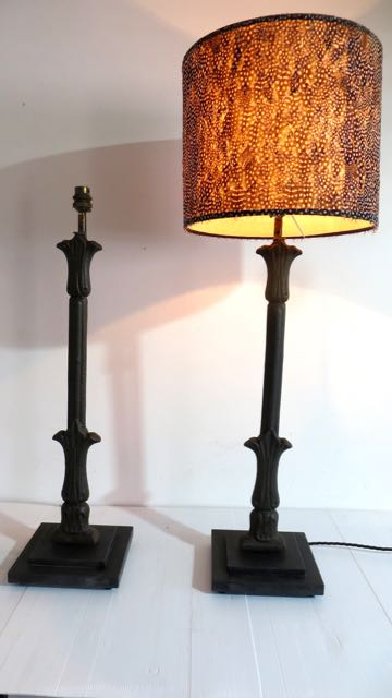 Pair of cast iron balustrade lamps.
