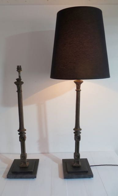 Picture of Pair of old balustrade table lamps