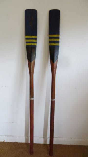 Pair of old painted oars