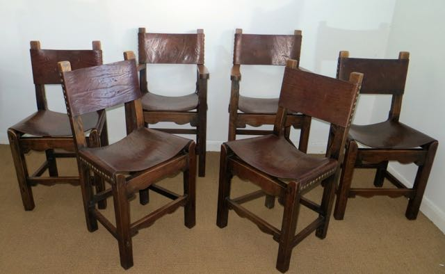 Set of 6 oak and leather chairs
