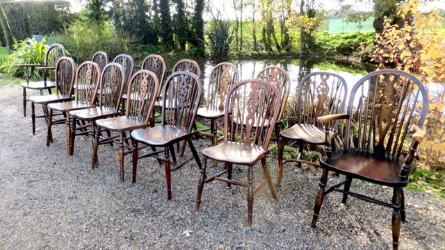 Picture of 15 elm wheel back chairs