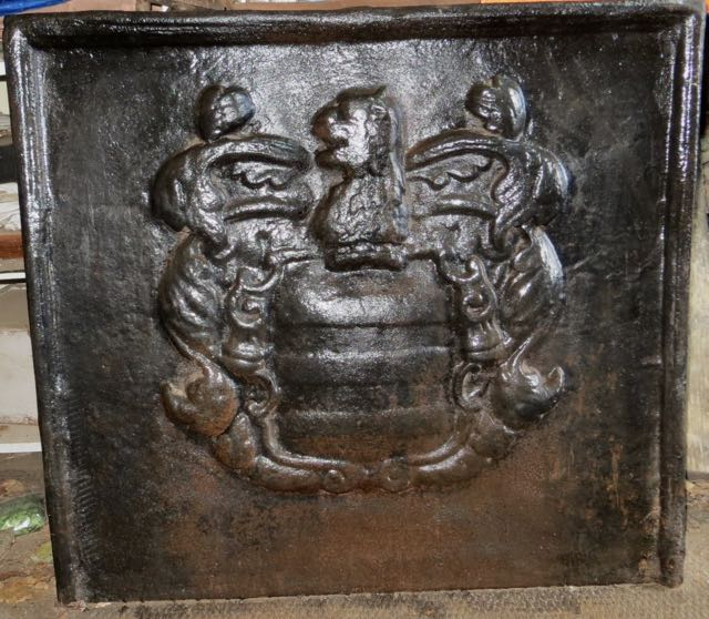 Picture of Old cast iron fire back