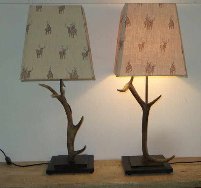 Pair of antler table lamps