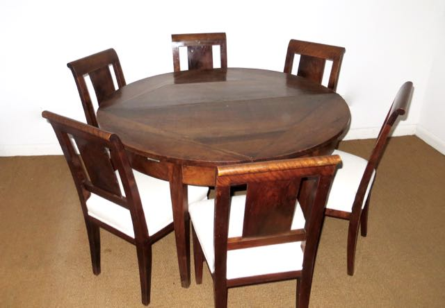 Walnut & Mahogany folding round deme lune table