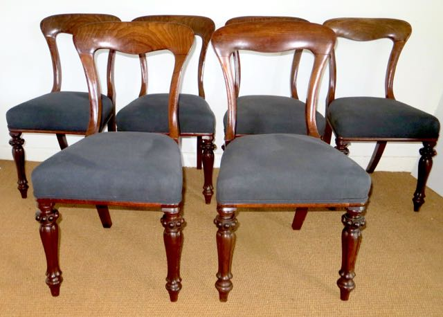 Picture of Six Victorian mahogany dinning chairs