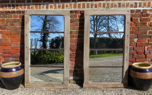 Pair of oak French barn window mirrors
