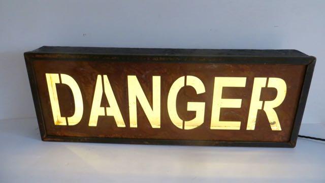 Danger sign in light box