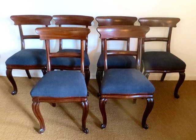 6 Victorian Mahogany bar back dinning chairs