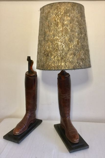 Pair of brown hunting boot lamps