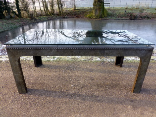 Picture of Large Glass Top Galvanised Water Tank Table.