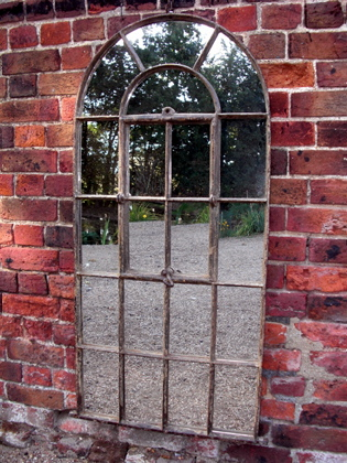 Picture of Arched top rustic window mirror