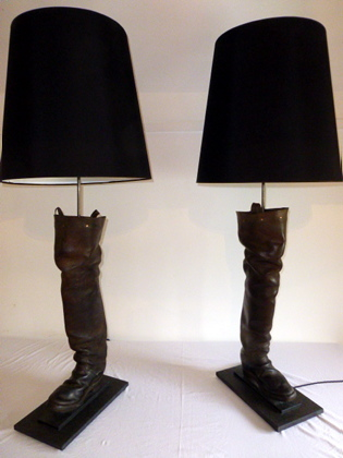 Picture of Pair of leather marsh man boot lamps