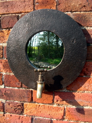 Recycled oil barrel mirror