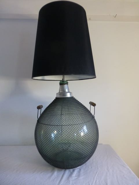Old wired glass flagon table light