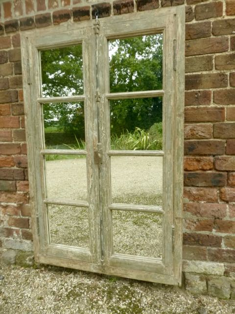 Distressed French window mirror