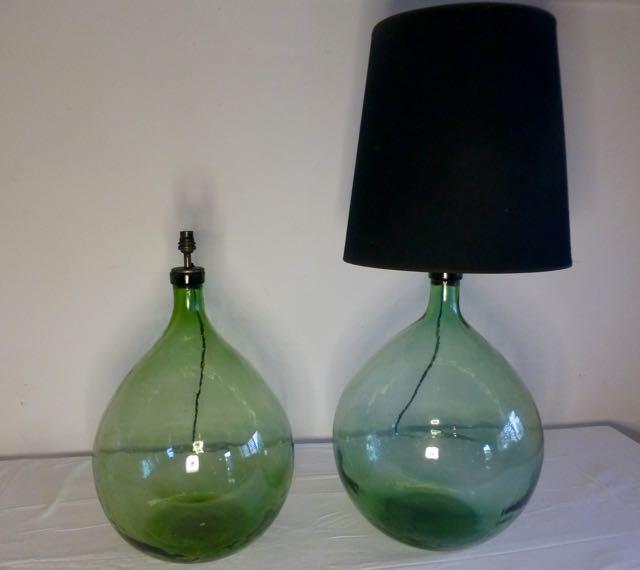 Green flagon table lamps