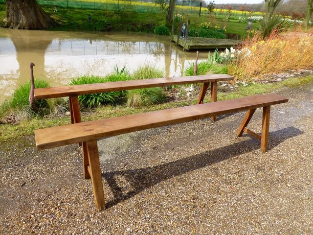 Picture of Pair of French cherry wood benches