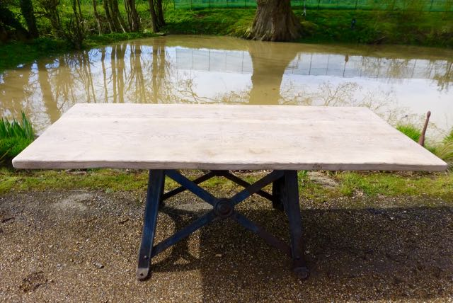 Industrial table with oak top